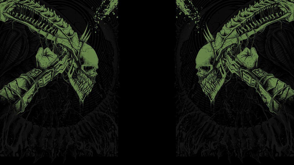 movies predator science fiction Alien fan art black background H_R_ Giger wallpaper
