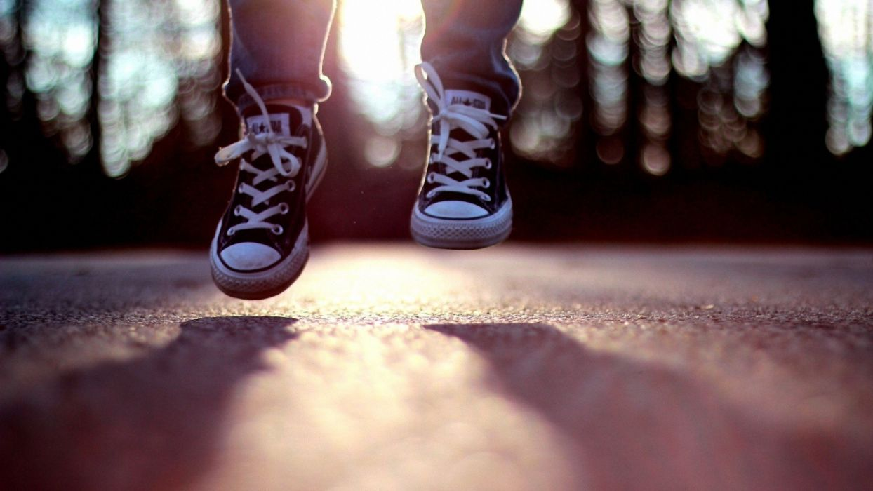 legs jumping shadows shoes Converse bokeh hardscapes ground wallpaper