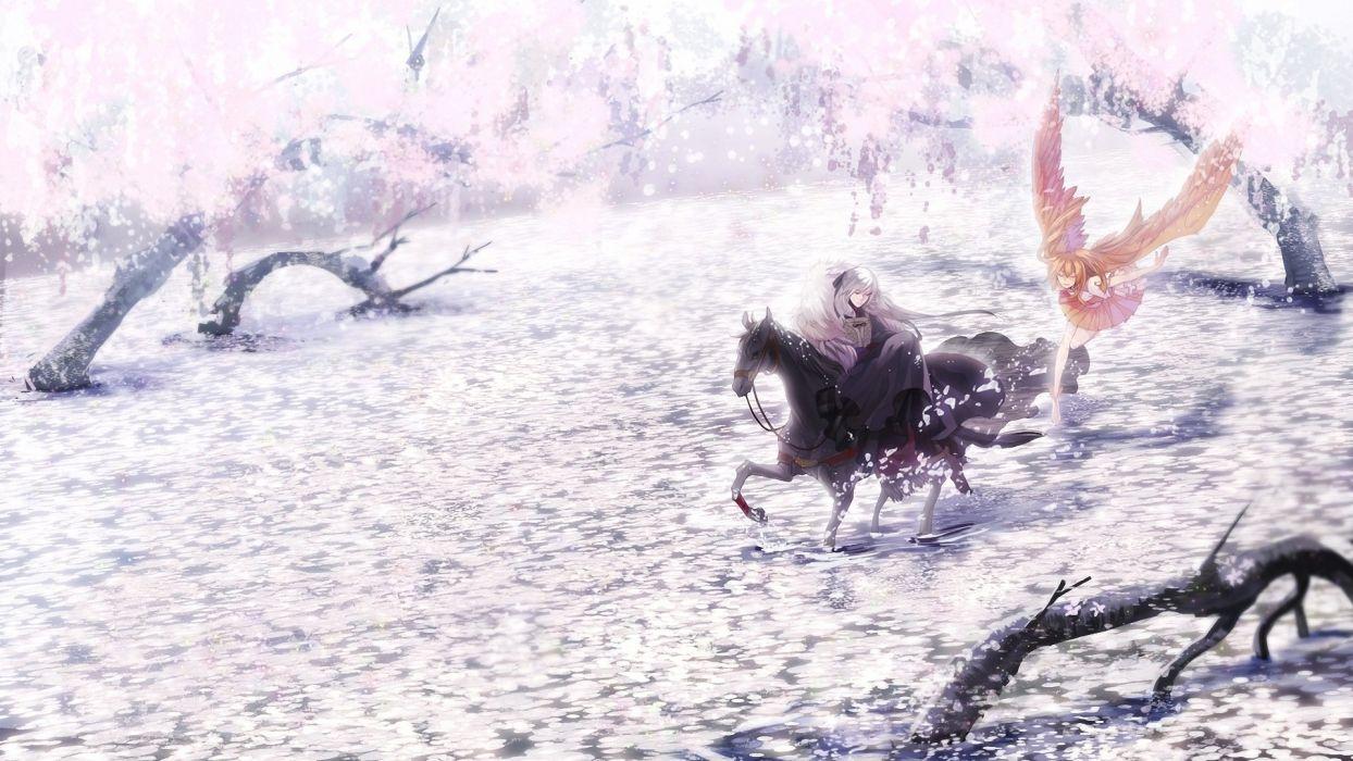 wings horses flower petals anime girls wallpaper