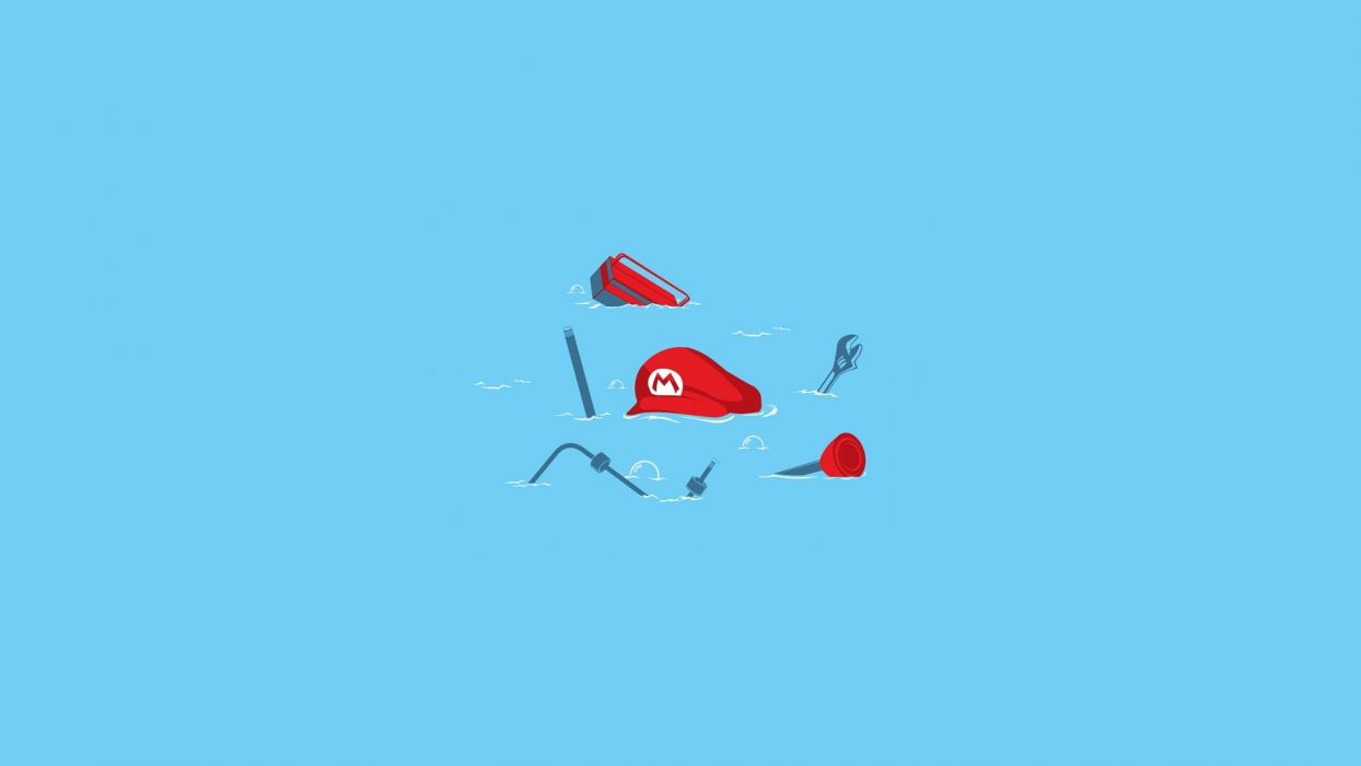 Nintendo abstract Mario tools solid simplistic simple wallpaper