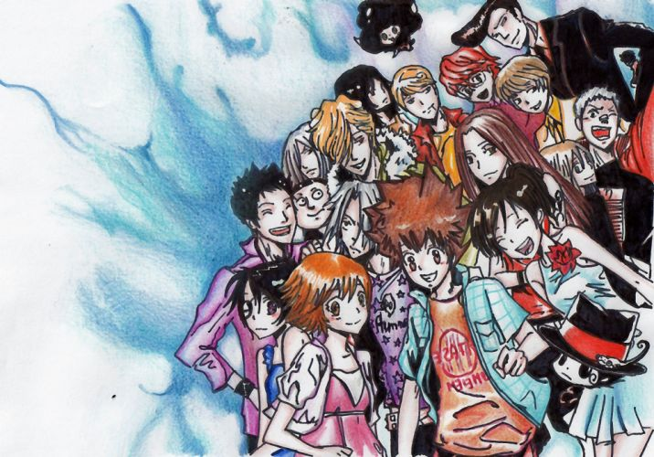 Katekyo Hitman Reborn eyes groups reborn Yamamoto Takeshi Hibari Kyoya Gokudera Hayato Sawada Tsunayoshi anime Rokudo Mukuro Sasagawa Kyoko Lal Mirch Shoichi Irie Spanner Lambo Bovino Haru Miura wallpaper