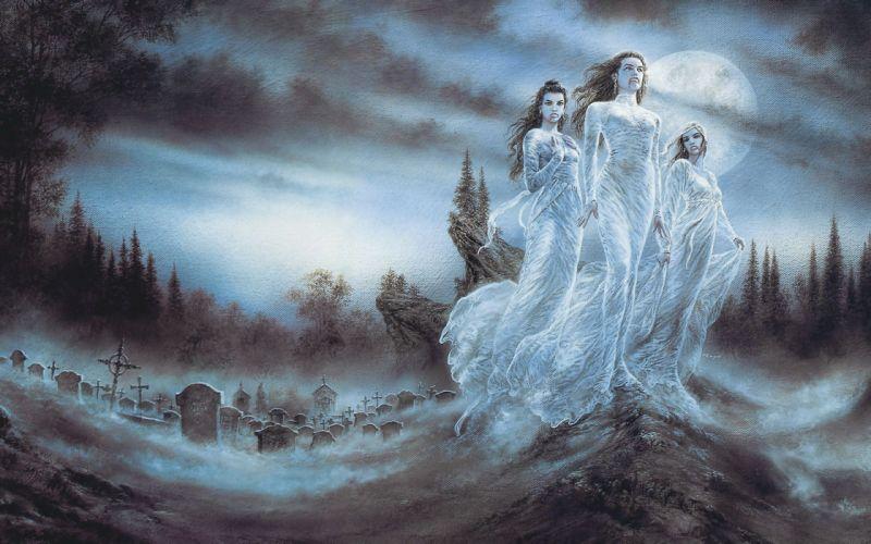Luis Royo night forests blood Moon brides ghosts fantasy art vampires spirit artwork fangs cemetery wallpaper