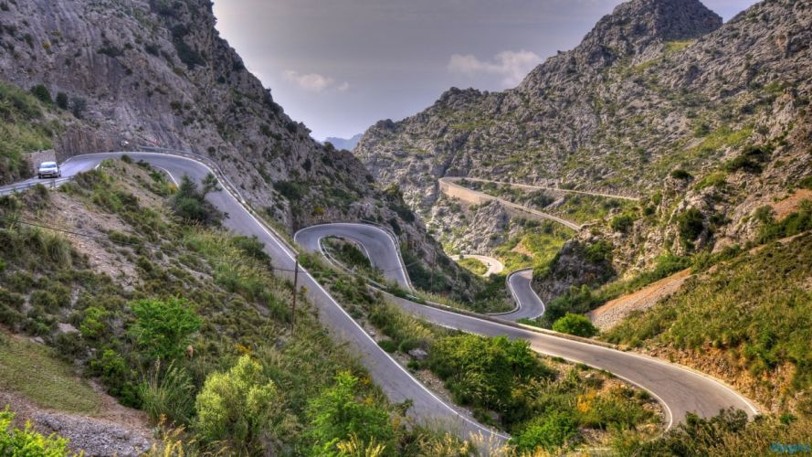 mountains landscapes nature Spain roads curves loops Fantastic wallpaper