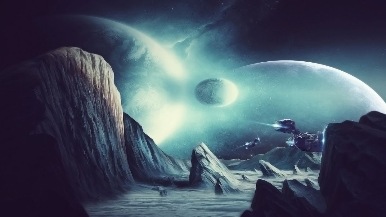 mountains outer space planets Moon rocks spaceships wallpaper