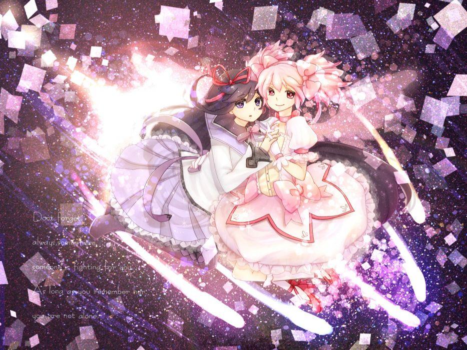 brunettes pink hair Mahou Shoujo Madoka Magica Kaname Madoka anime Akemi Homura anime girls wallpaper