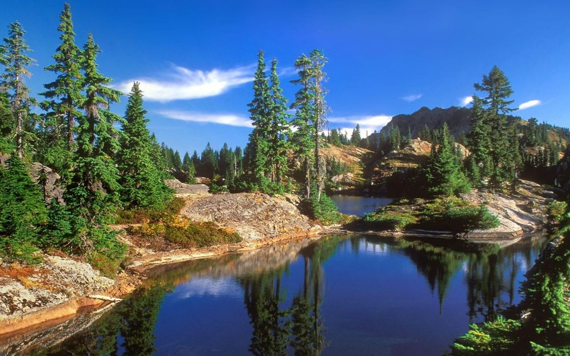 landscapes forests national lakes Washington wallpaper