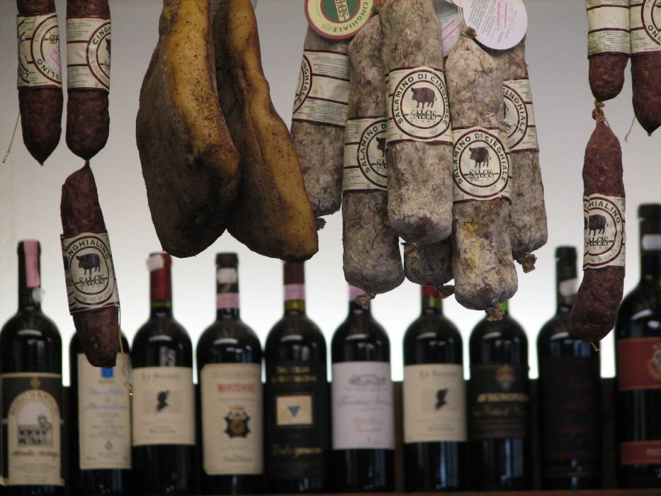 wine Italy salami wallpaper