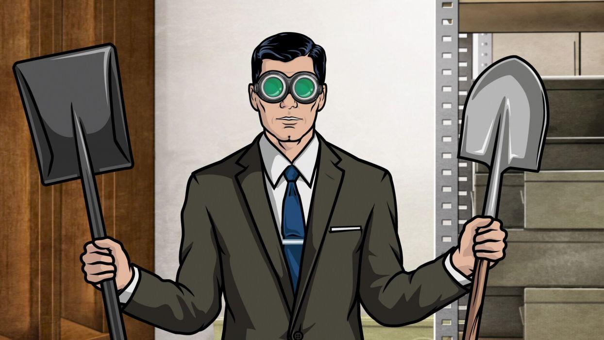 glasses archers Archer (TV) shovel Secret Agent wallpaper