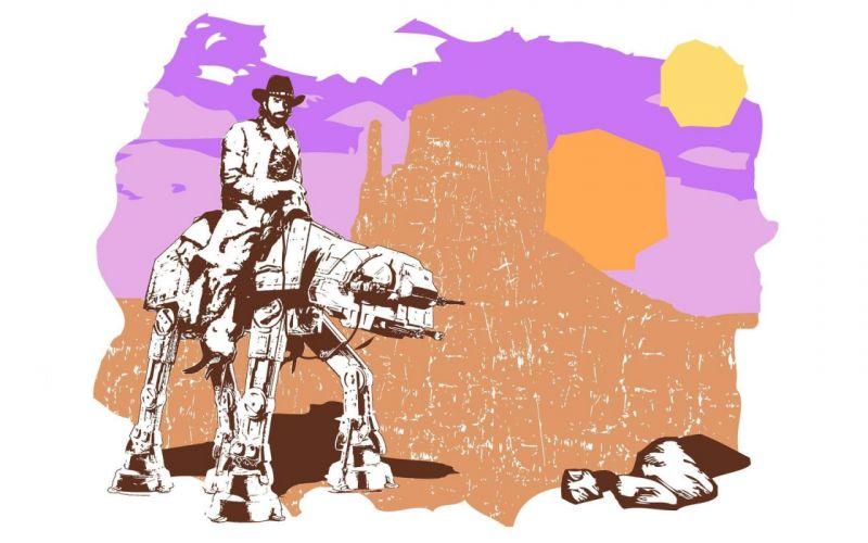 Star Wars parody Chuck Norris AT-AT Texas Rangers wallpaper