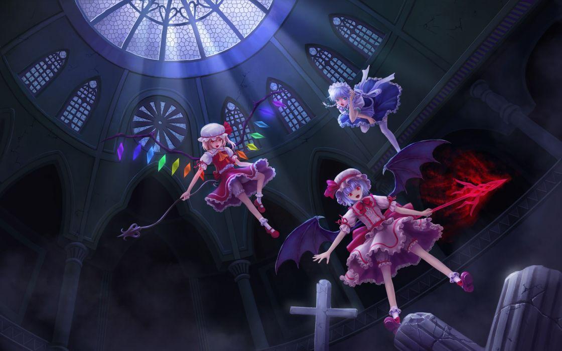 blondes Touhou wings maids blue eyes Izayoi Sakuya red eyes white hair Flandre Scarlet Remilia Scarlet wallpaper
