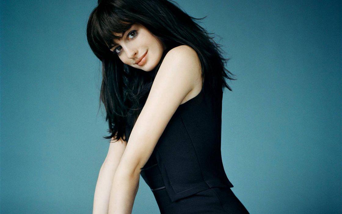 women Anne Hathaway actress black hair wallpaper