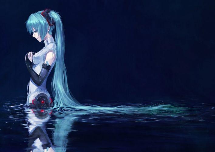 Vocaloid Hatsune Miku blue hair Miku Append simple background Vocaloid Append wallpaper