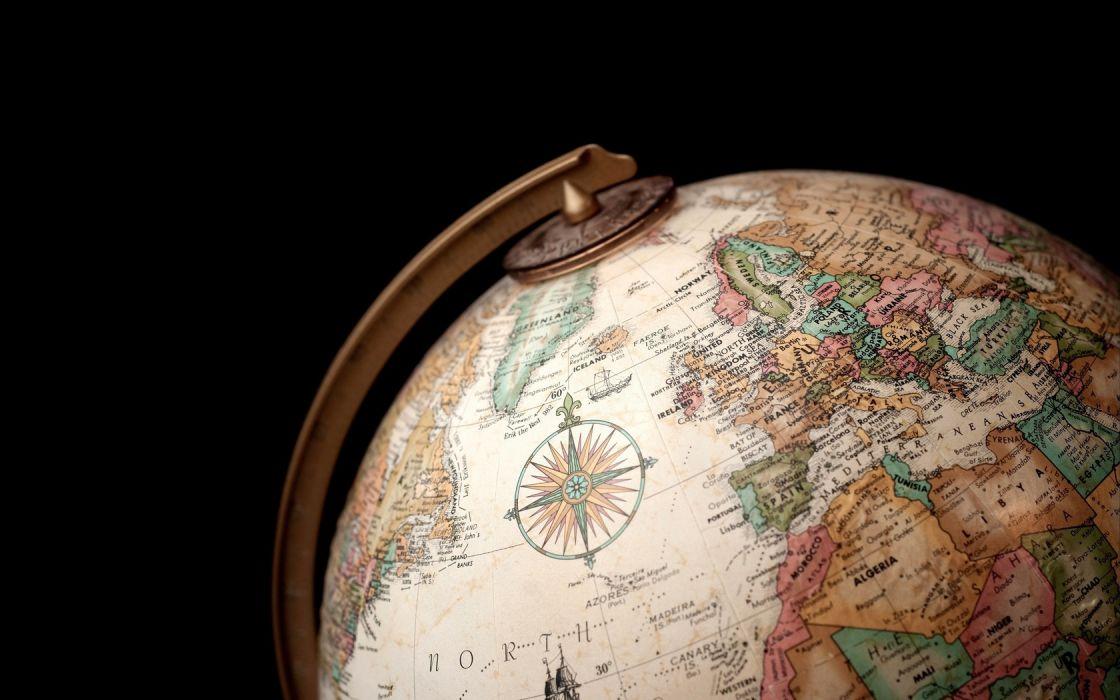 black background globe wallpaper