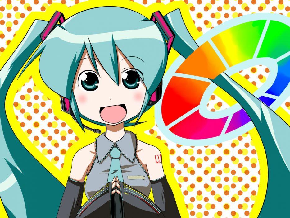 headphones Vocaloid Hatsune Miku tie twintails aqua hair anime girls wallpaper
