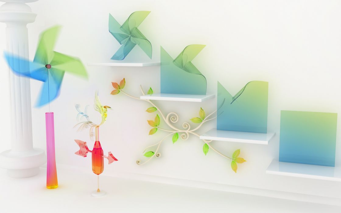 abstract origami leaves CGI chromatic pinwheels K3 Studio weathervanes wallpaper