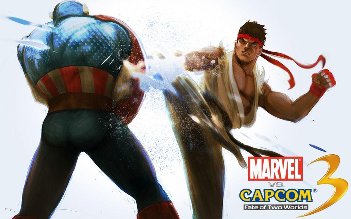 video games Captain America Capcom Marvel Comics Marvel vs Capcom 3 wallpaper