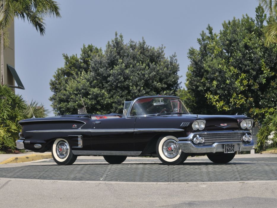 1958 Chevrolet Bel Air Impala 348 Super Turbo-Thrust Tri-Power Convertible retro  j wallpaper