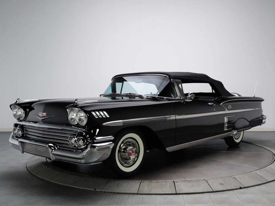 1958 Chevrolet Bel Air Impala 348 Super Turbo-Thrust Tri-Power Convertible retro g wallpaper