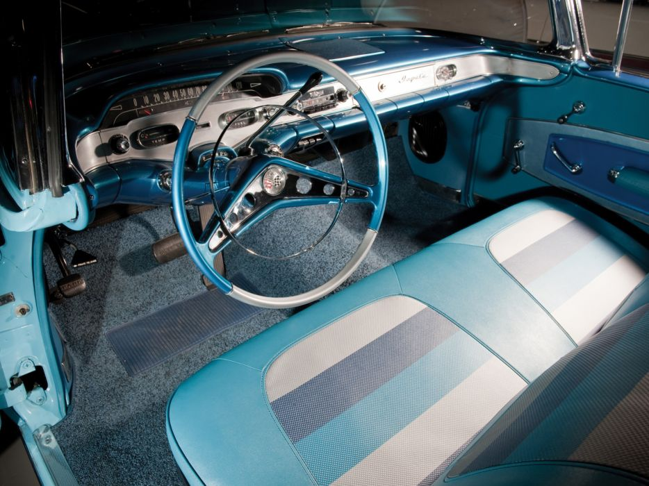 1958 Chevrolet Bel Air Impala 348 Super Turbo-Thrust Tri-Power Convertible retro interior    h wallpaper