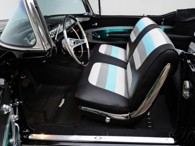 1958 Chevrolet Bel Air Impala 348 Super Turbo-Thrust Tri-Power Convertible retro interior g wallpaper