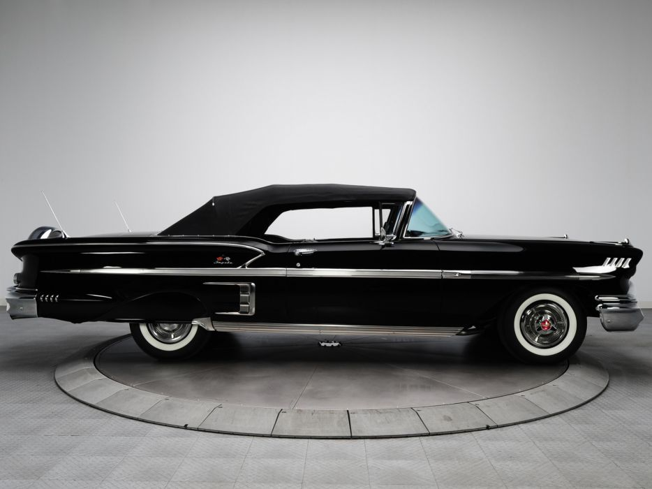 1958 Chevrolet Bel Air Impala 348 Super Turbo-Thrust Tri-Power Convertible retro muscle   h wallpaper