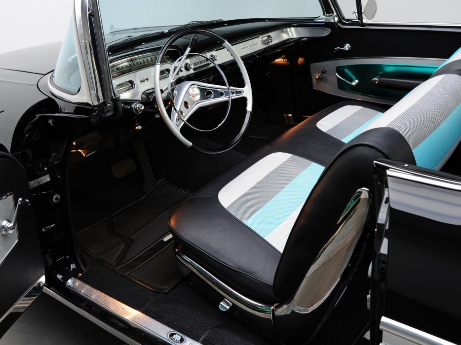 1958 Chevrolet Bel Air Impala 348 Super Turbo-Thrust Tri-Power Convertible retro muscle interior    h wallpaper