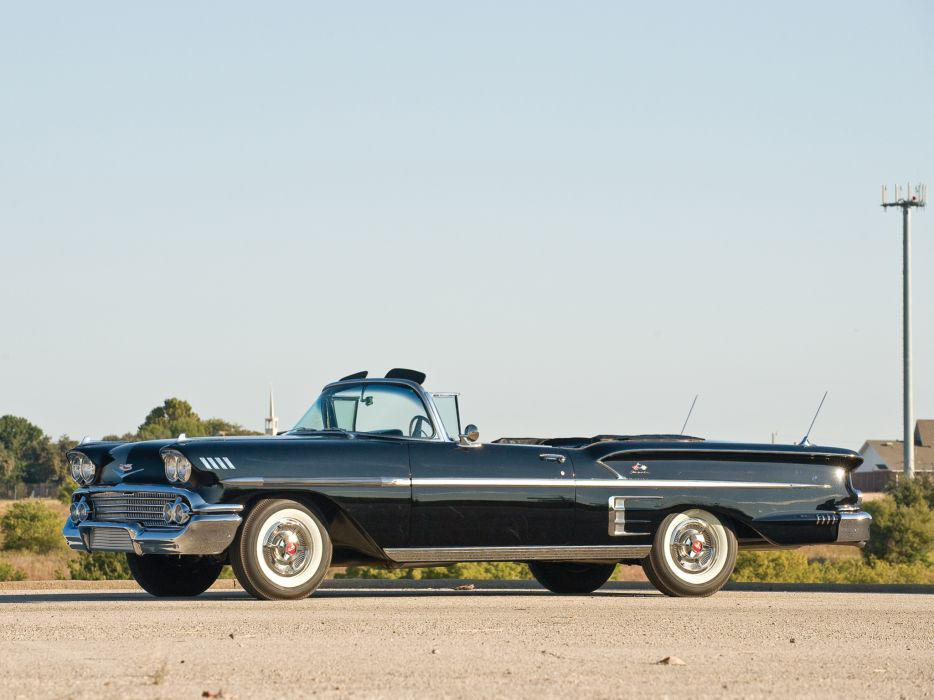 1958 Chevrolet Bel Air Impala 348 Super Turbo-Thrust Tri-Power Convertible retro       f wallpaper