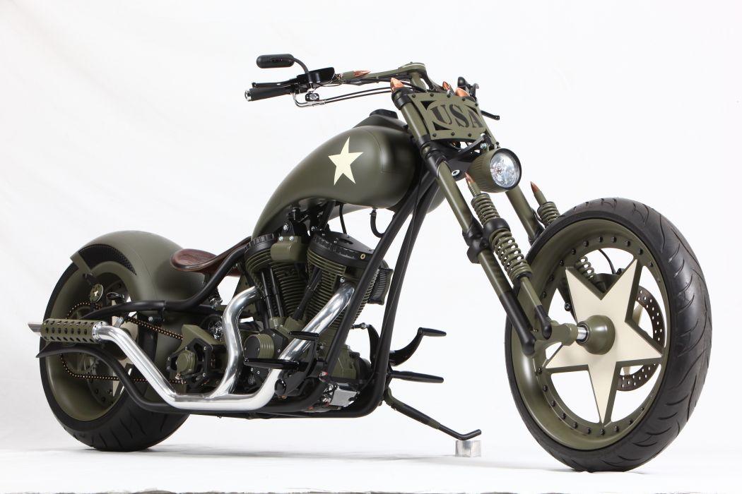 CUSTOM CHOPPER motorbike tuning bike hot rod rods military     h wallpaper