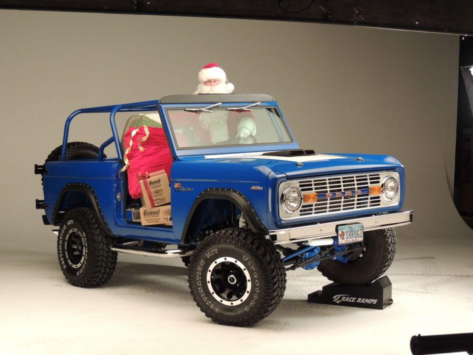 ford bronco 4x4 suv santa christmas   gs wallpaper
