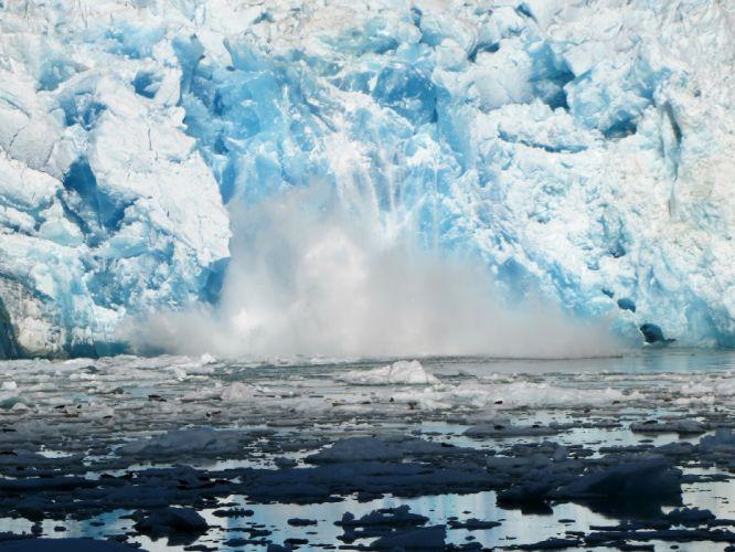 glacier calving winter ice snow f wallpaper