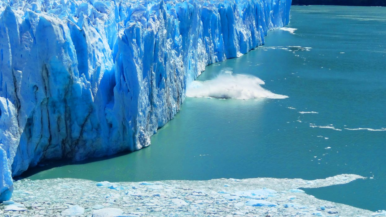 glacier calving winter ice snow  ew wallpaper