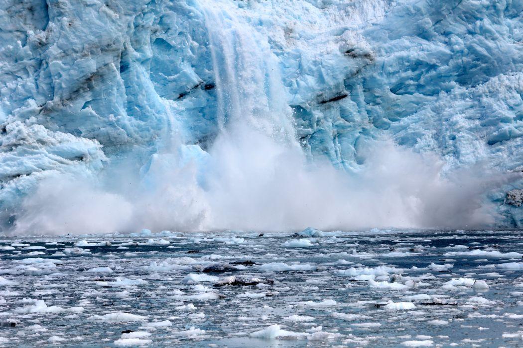 glacier calving winter ice snow  r wallpaper