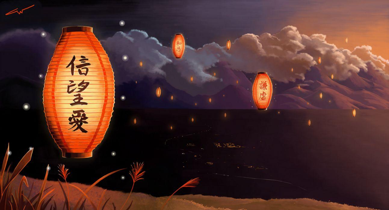 Japanese Lantern Lamp Light Asiam Oriental Bokeh Y Wallpaper