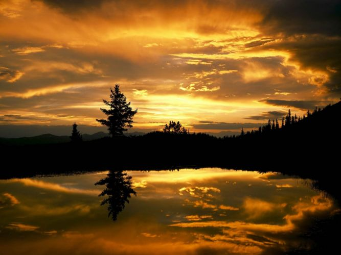 sunset forests lakes wallpaper