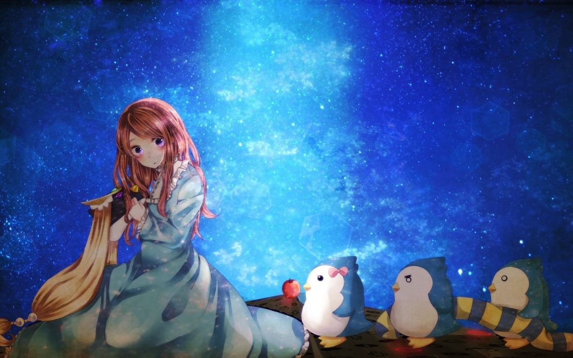 stars penguins anime skyscapes apples Mawaru Penguindrum anime girls Takakura Himari wallpaper