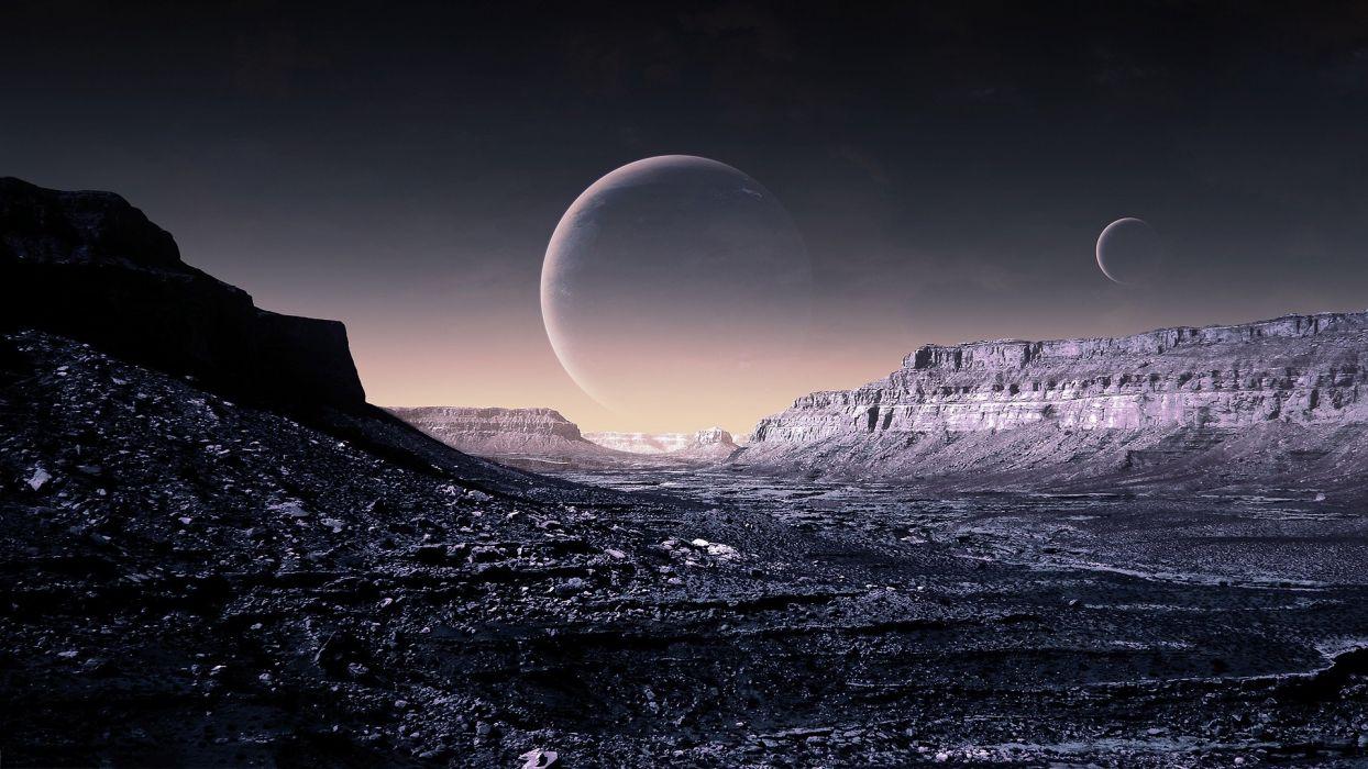 fantasy futuristic planets surface spacescape science fiction wallpaper