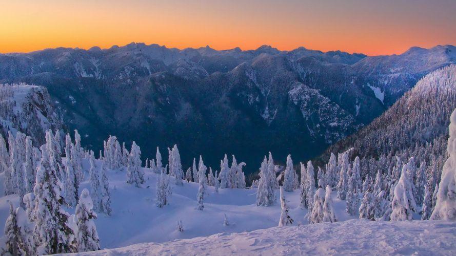 mountains landscapes nature winter snow horizon trees peaks snow landscapes wallpaper