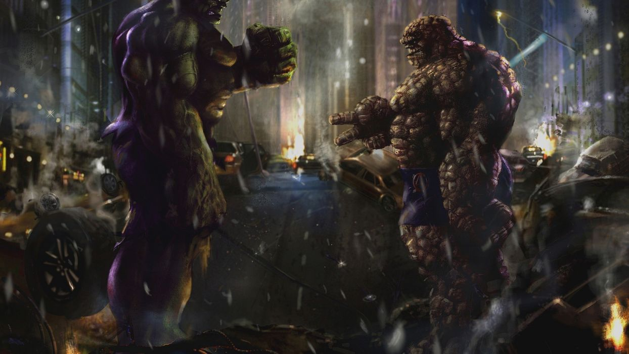 Hulk (comic character) superheroes Thing (Ben Grimm) wallpaper