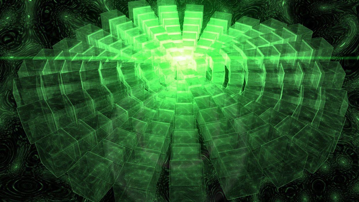abstract outer space CGI cubes digital art glow 3D art wallpaper