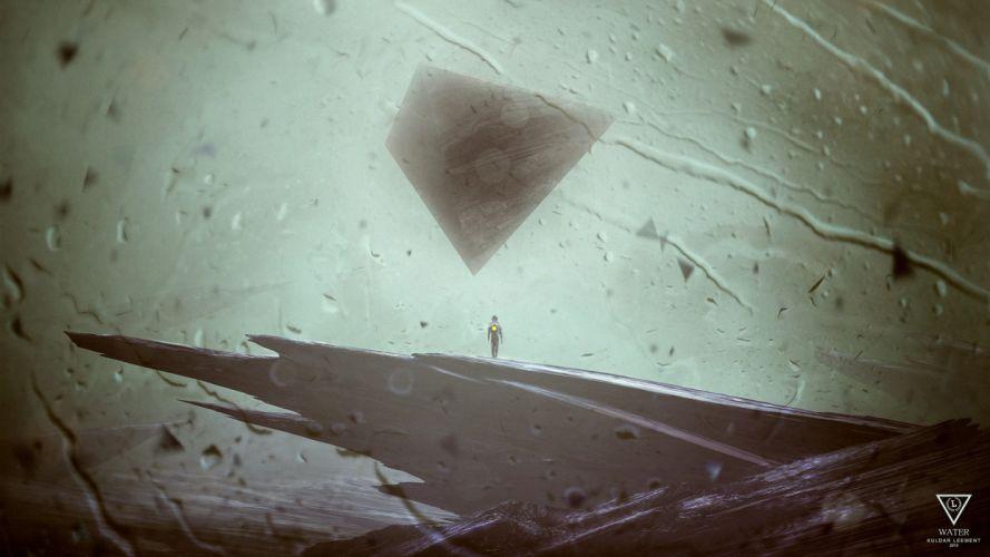 water elements digital art artwork four elements triangle Kuldar Leement great wallpaper