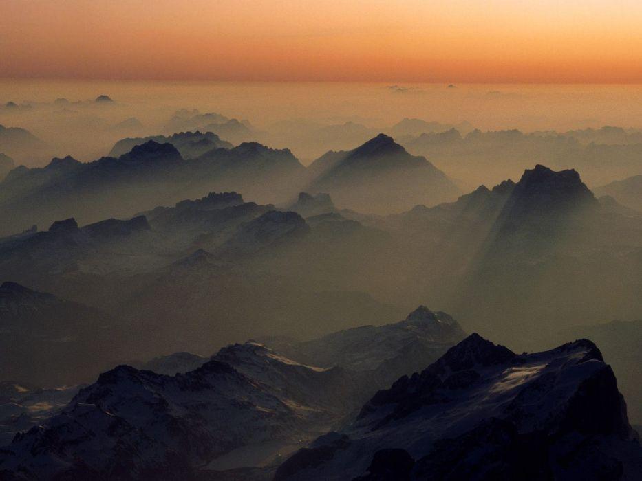 mountains landscapes nature Austria fog mist peaks Alps wallpaper