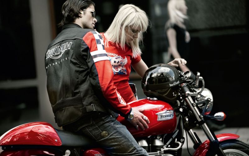 blondes women Thruxton motorbikes Triumph Motorcycles wallpaper