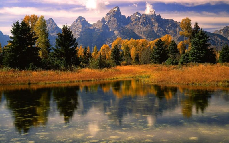 light landscapes nature Wyoming Grand Teton National Park morning National Park wallpaper