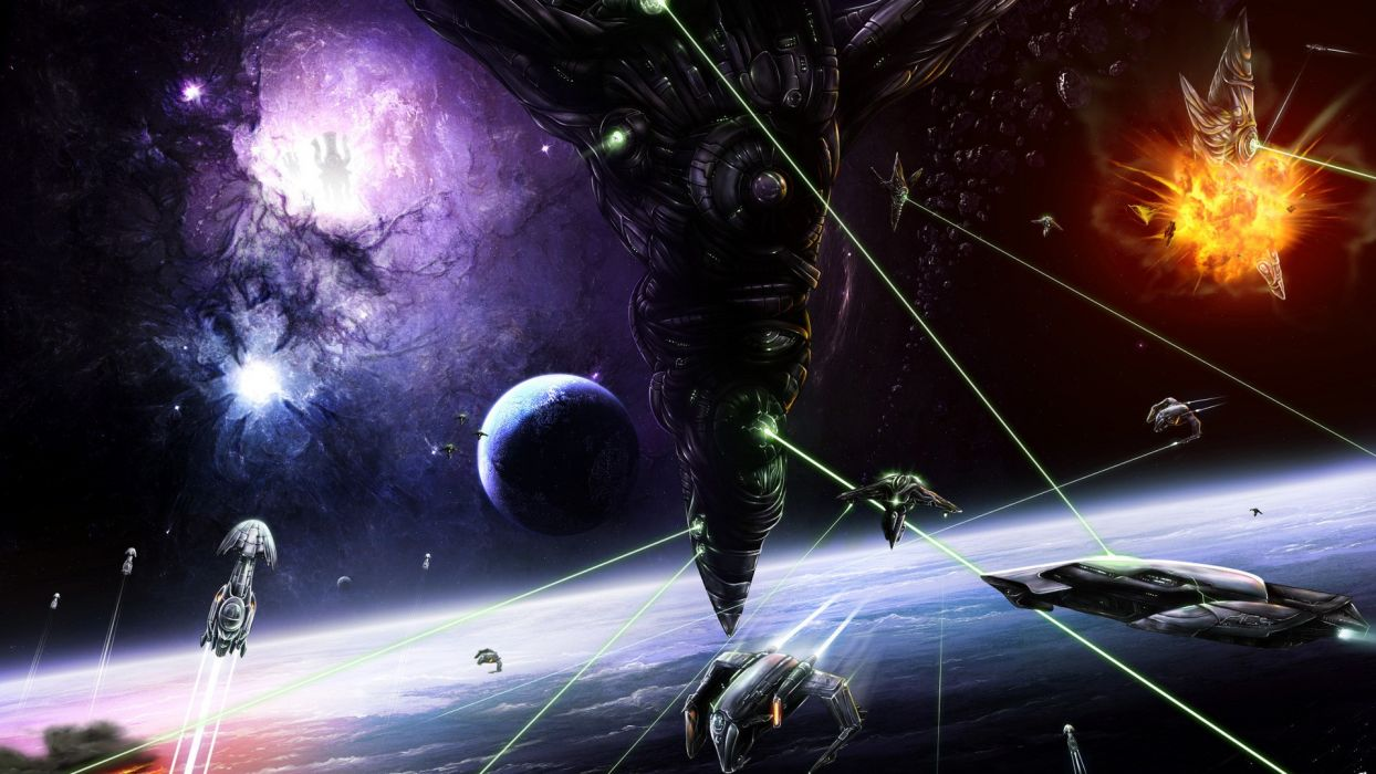 outer space space station battles wallpaper