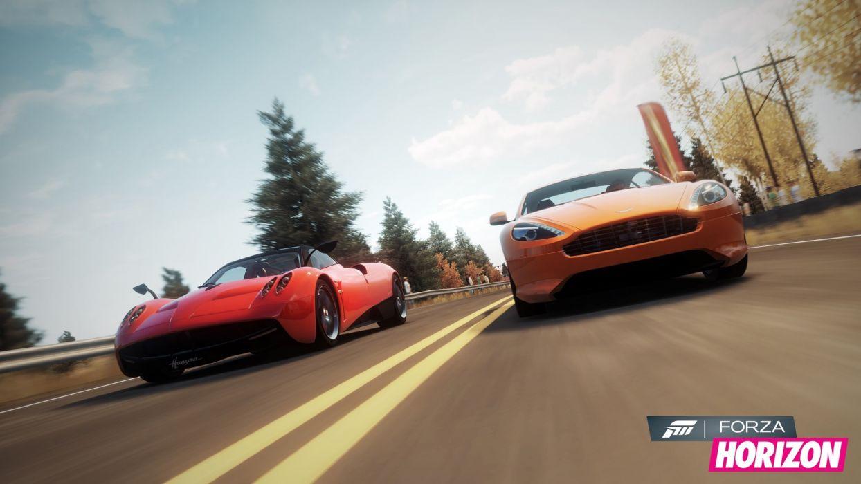 video games cars Xbox 360 Pagani Huayra Aston Martin Virage Forza Horizon wallpaper
