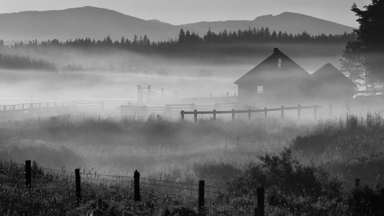 fog Oregon morning house ranch wallpaper