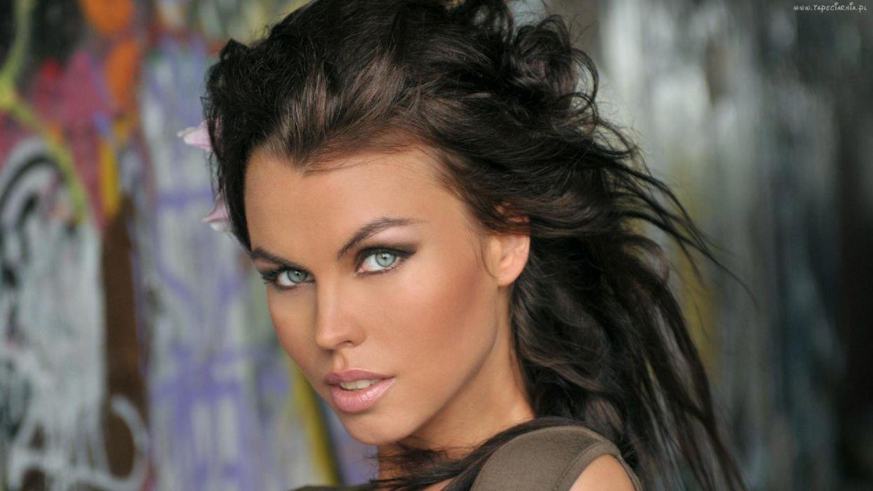 brunettes women blue eyes faces Ksenia Buntovich wallpaper