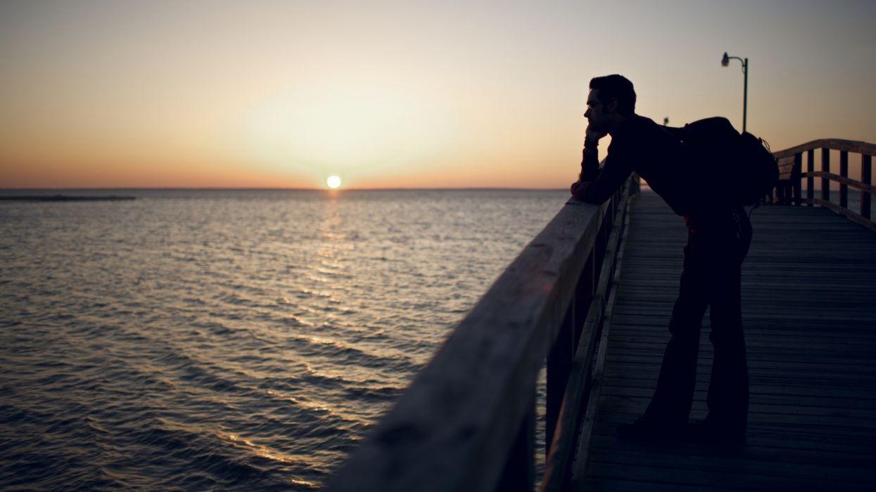 landscapes nature horizon silhouettes piers guy sea wallpaper