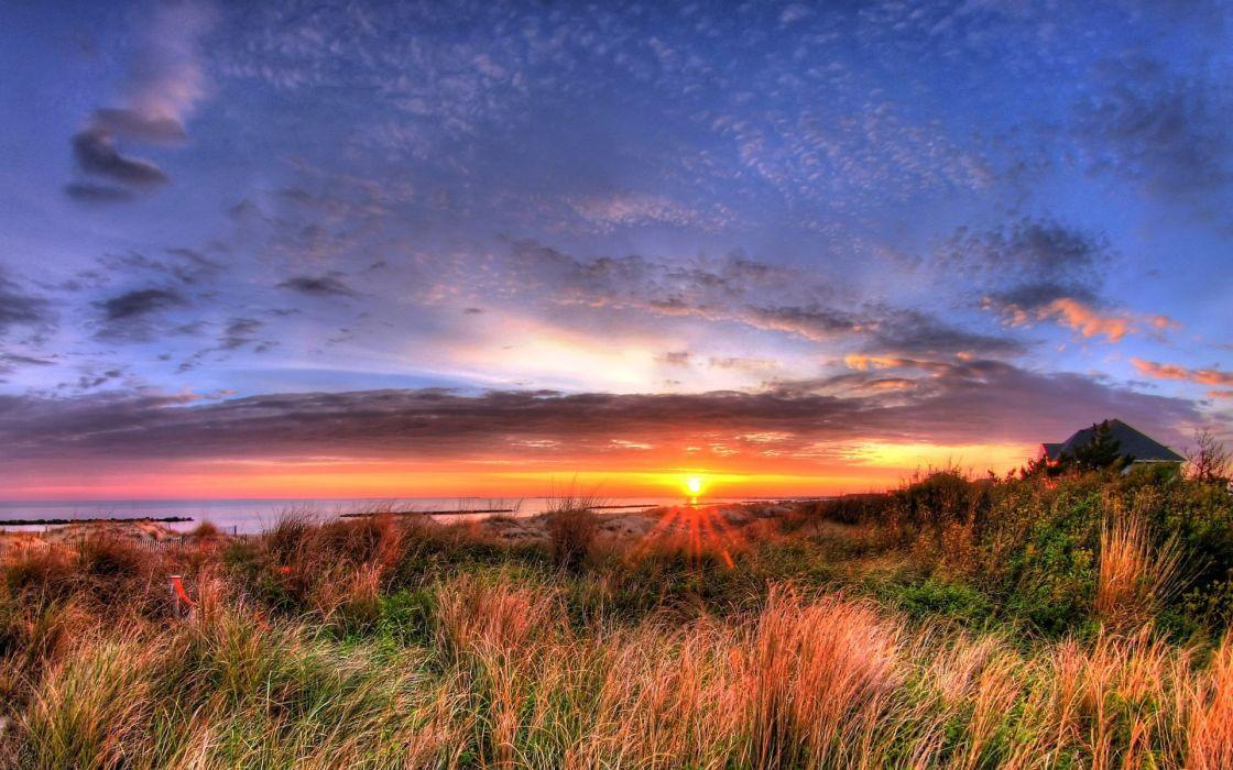 water sunset sunrise landscapes nature sea beaches wallpaper