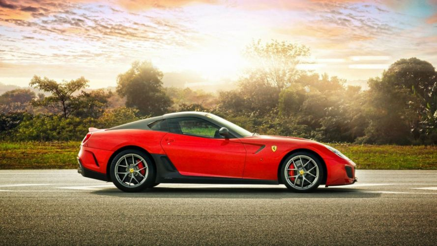 sunset red Ferrari 599 Ferrari 599 GTO side view wallpaper